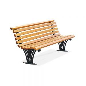 Panchine in ferro - Art. 1119 - Panchina Ariete con listoni in legno